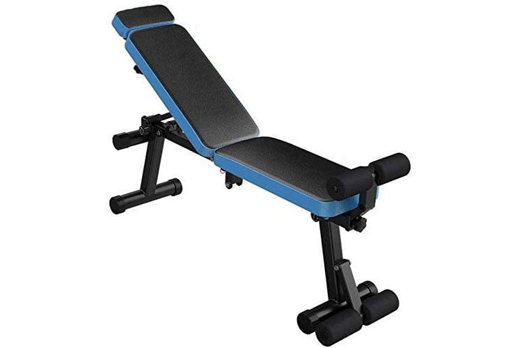 banco ajustable de pesas azules