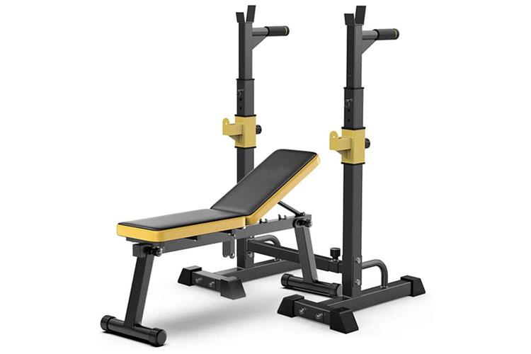 banco de pesas ajustable con detalles en amarillo